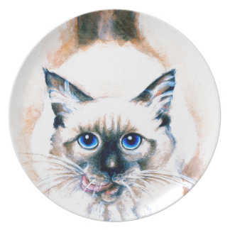 Siamese Cat Watercolor Plate