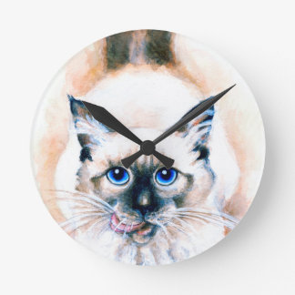 Siamese Cat Watercolor Round Clock