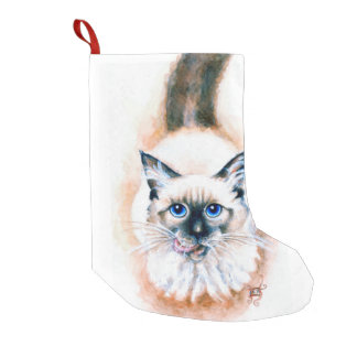 Siamese Cat Watercolor Small Christmas Stocking