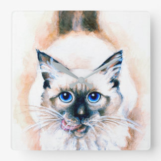 Siamese Cat Watercolor Square Wall Clock