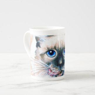 Siamese Cat Watercolor Tea Cup