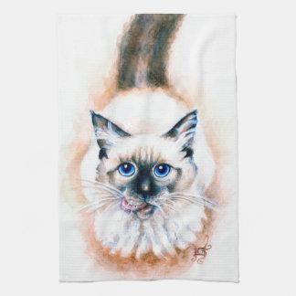 Siamese Cat Watercolor Tea Towel