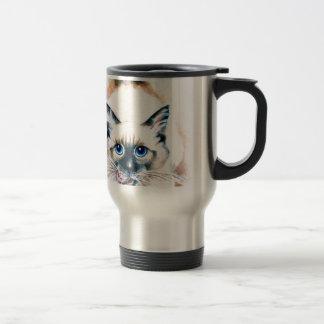 Siamese Cat Watercolor Travel Mug
