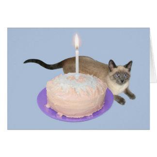 Siamese Cat with Birthday Cake Card