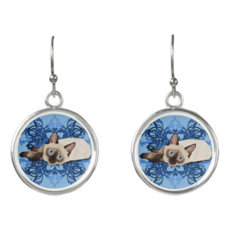 Siamese Cat With Blue Floral Design Earrings