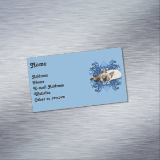 Siamese Cat With Blue Floral Design Magnetic Business Card