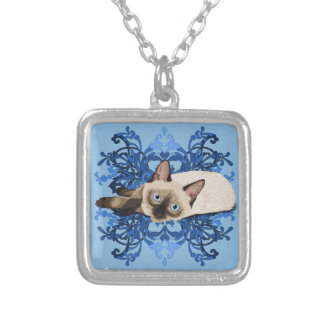 Siamese Cat With Blue Floral Design Silver Plated Necklace
