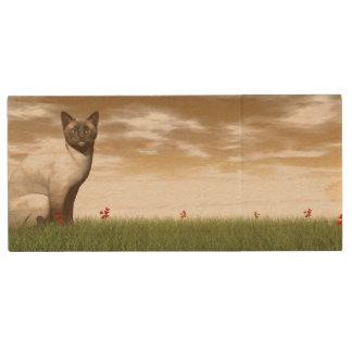 Siamese cat wood USB flash drive