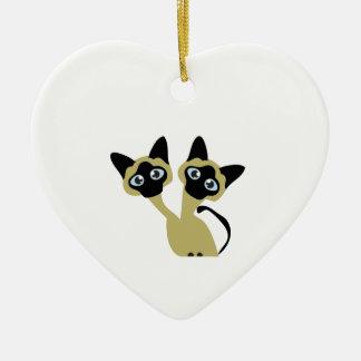 Siamese Cats Ceramic Heart Decoration