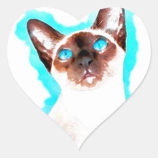 Siamese CatWatercolor Art Heart Sticker