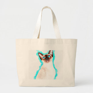 Siamese CatWatercolor Art Large Tote Bag