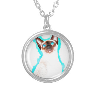 Siamese CatWatercolor Art Silver Plated Necklace