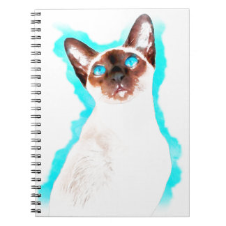 Siamese CatWatercolor Art Spiral Notebook
