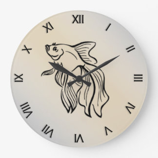 Siamese Fighting Fish Numeral Large Clock