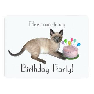 Siamese Kitten Birthday Party Invitation