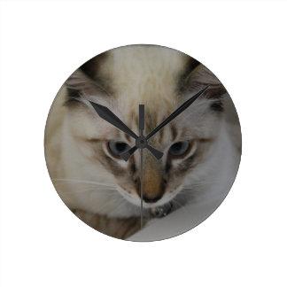 Siamese Kitten Round Clock