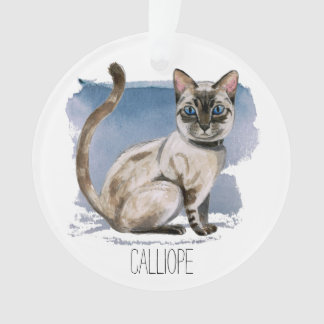 Siamese Kitten Watercolor Painting | Add Your Name Ornament