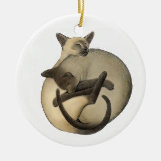 Siamese Love Cats Ornament