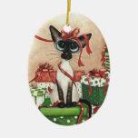 Siamese Red Ribbon Christmas Ornaments