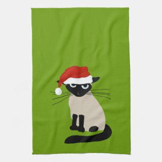 Siamese Santa Claws - Funny Holiday Kitty Cat Hand Towel