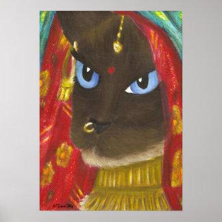 Siamese Sari Cat print