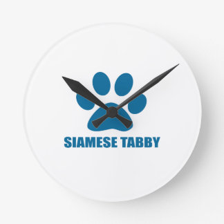 SIAMESE TABBY CAT DESIGNS ROUND CLOCK