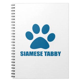 SIAMESE TABBY CAT DESIGNS SPIRAL NOTEBOOK