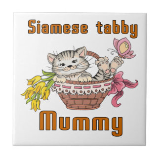 Siamese tabby Cat Mom Small Square Tile