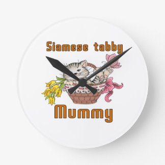 Siamese tabby Cat Mom Wall Clocks