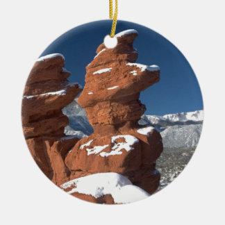 Siamese Twins and Pikes Peak Round Ceramic Decoration