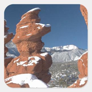 Siamese Twins and Pikes Peak Square Sticker
