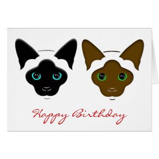 Siamese Twins Cats Birthday Greeting Card
