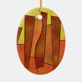 Siangonissa V1 - falling leaves Ceramic Oval Decoration