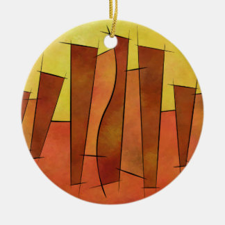 Siangonissa V1 - falling leaves Round Ceramic Decoration