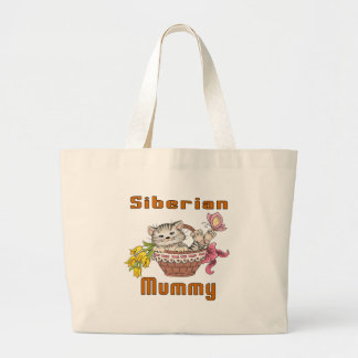 Siberian Cat Mom Large Tote Bag
