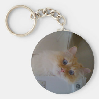 Siberian Forest Cat Basic Round Button Key Ring