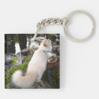 Siberian Forest Cat Double-Sided Square Acrylic Key Ring