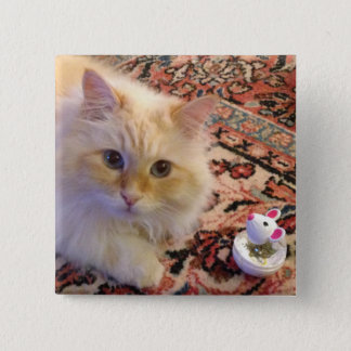 Siberian Forest Cat & Toy 15 Cm Square Badge