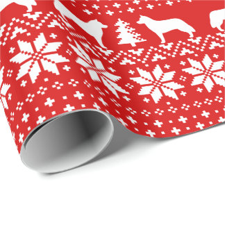 Siberian Huskies Christmas Sweater Pattern Red Wrapping Paper
