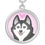 Siberian Husky / Alaskan Malamute Love Round Pendant Necklace