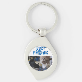 Siberian Husky and Chihuahua eat breakfast Silver-Colored Swirl Key Ring
