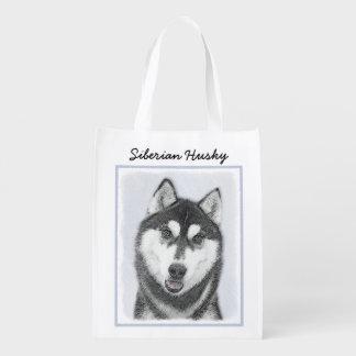 Siberian Husky (Black and White) Reusable Grocery Bag
