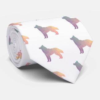 Siberian Husky Black Geometric Pattern Silhouette Tie
