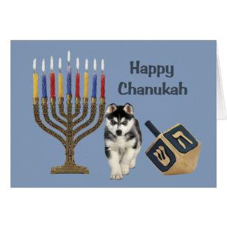 Siberian Husky Chanukah Card Menorah Dreidel
