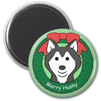Siberian Husky Christmas 6 Cm Round Magnet