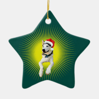 Siberian Husky Christmas Ceramic Ornament