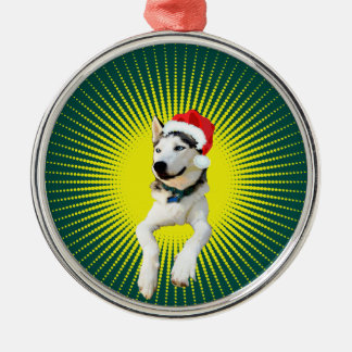 Siberian Husky Christmas Silver-Colored Round Decoration