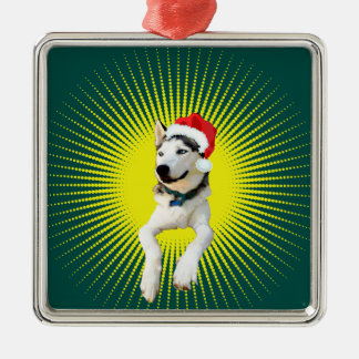Siberian Husky Christmas Silver-Colored Square Decoration