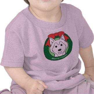 Siberian Husky Christmas Tee Shirts