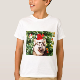 Siberian Husky Christmas Tree Ornaments Snowman T Shirts